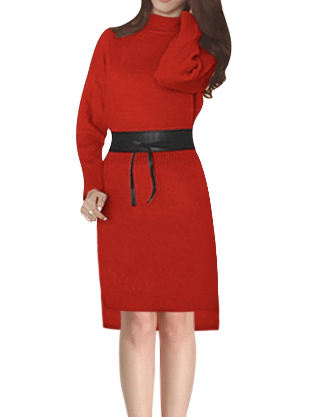 Ladies Mock Neck Hi-Lo Hem Knit Midi Dress w Belt Red XS