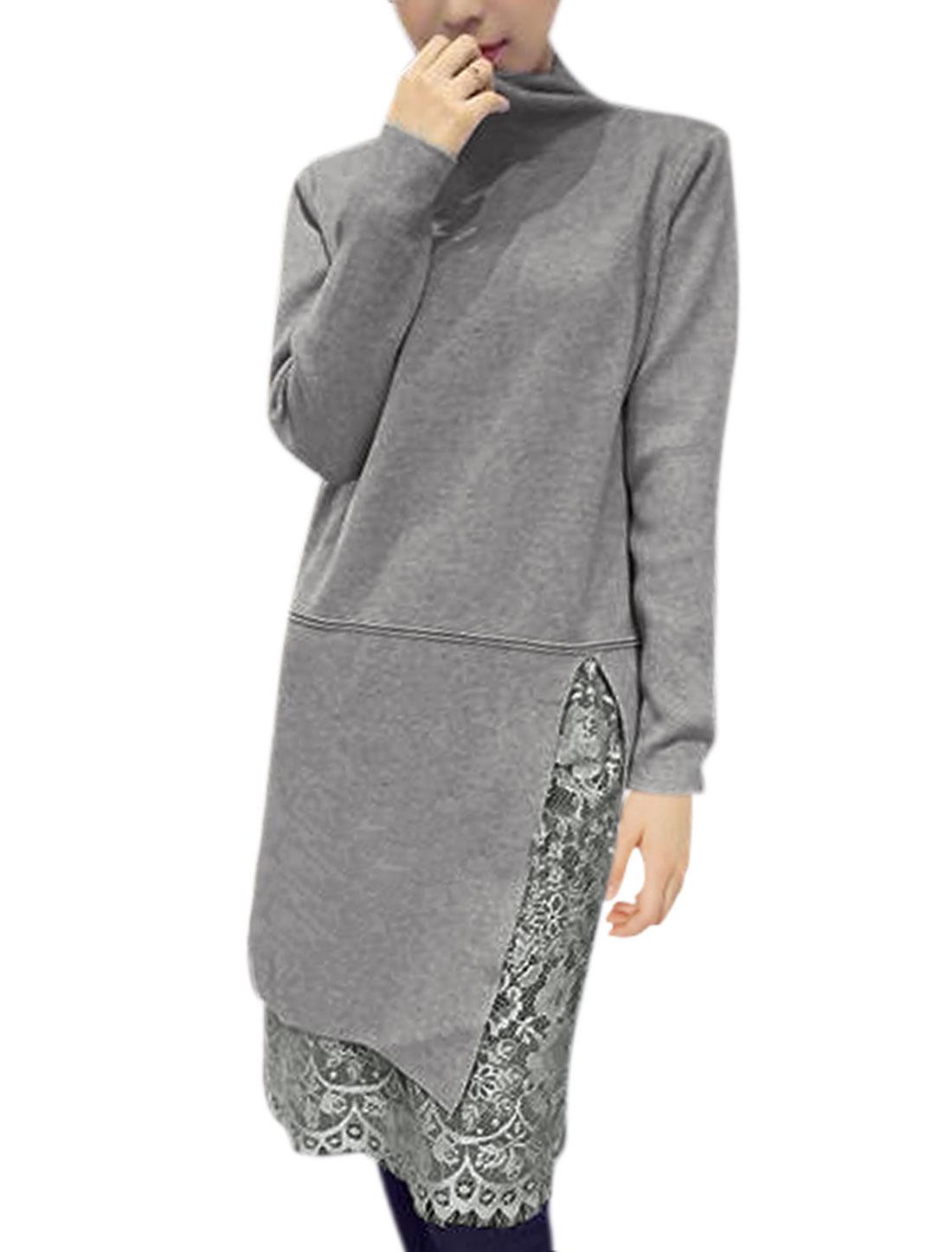 Woman Mock Neck Split Front Lace Tunic Knit Shirt Gray XS