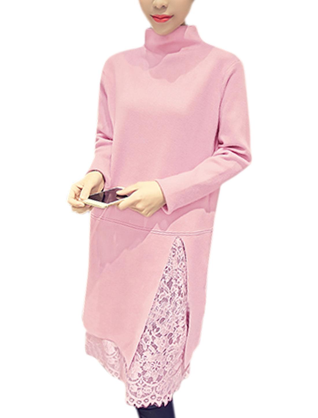 Woman Mock Neck Split Side Lace Tunic Knit Shirt Pink XS