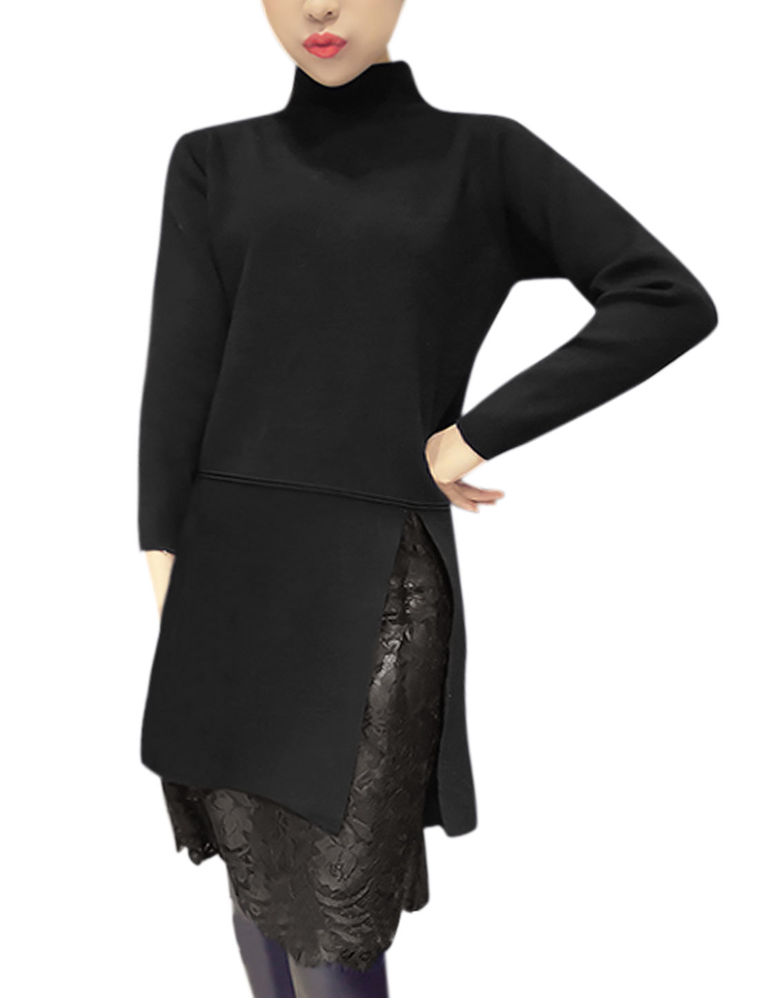 Woman Mock Neck Split Front Lace Tunic Knit Shirt Black XS