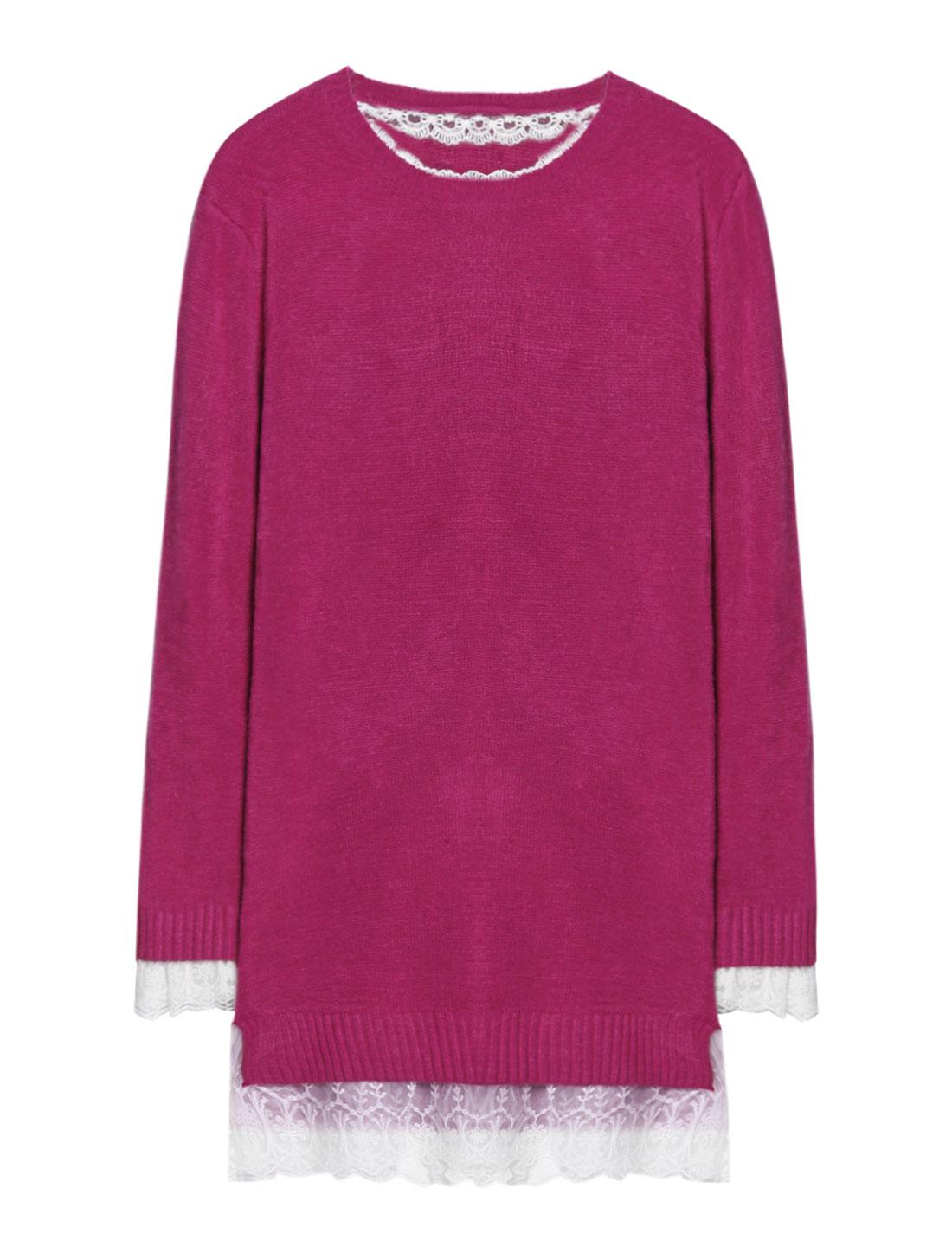 Woman Mesh Crochet Panel Split Sides Tunic Knit Shirt Purple XS