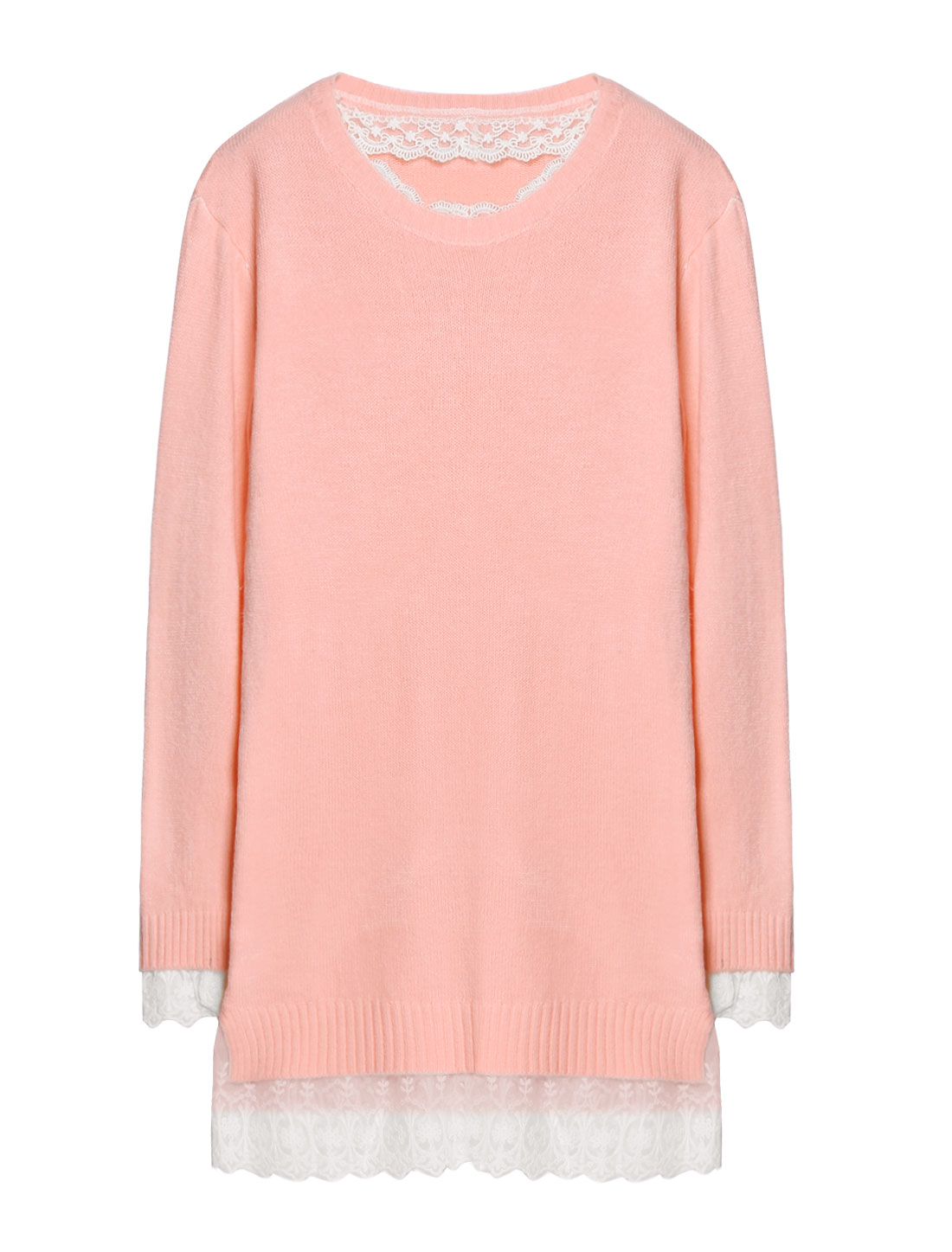 Woman Mesh Crochet Panel Split Sides Tunic Knit Shirt Pink XS