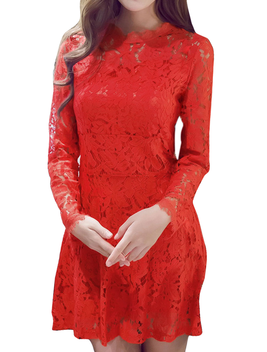 Women Long Sleeves Fit and Flare Lace Dress Red S