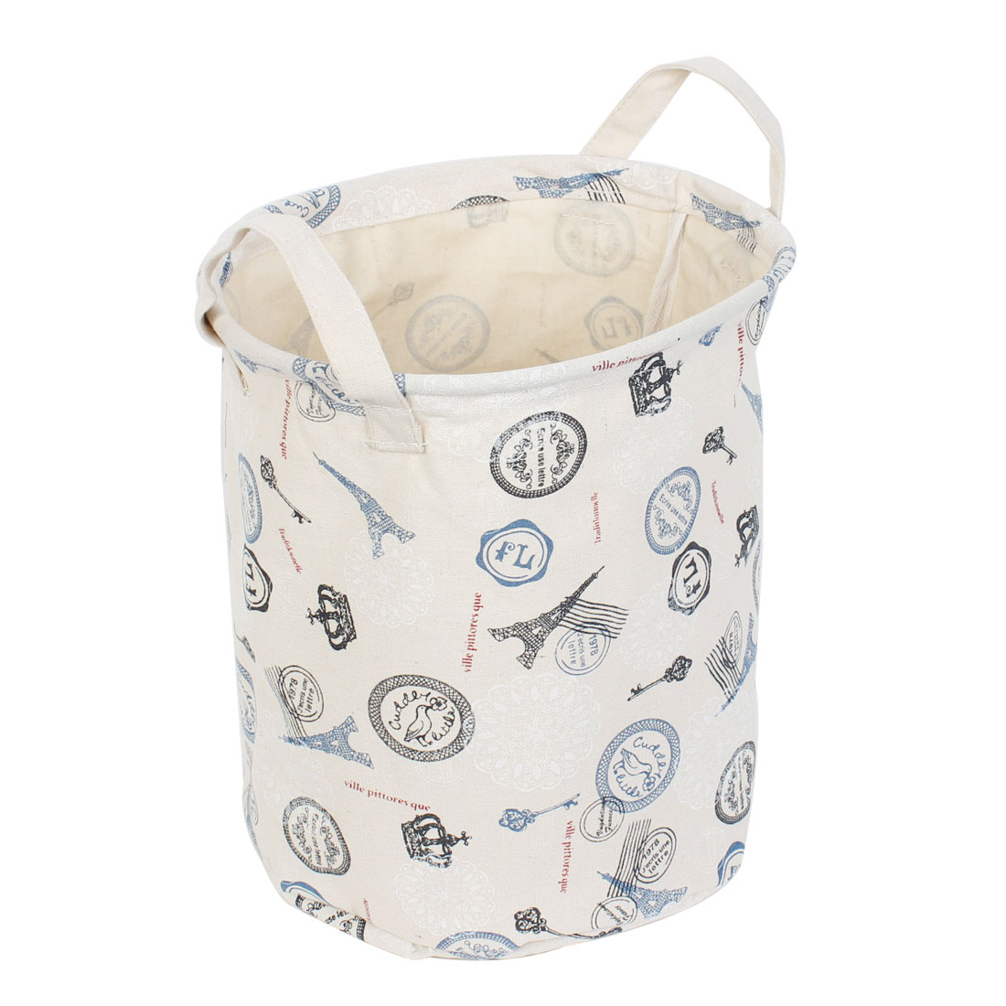 Tower Printed Cylinder Shaped Storage Basket Bucket