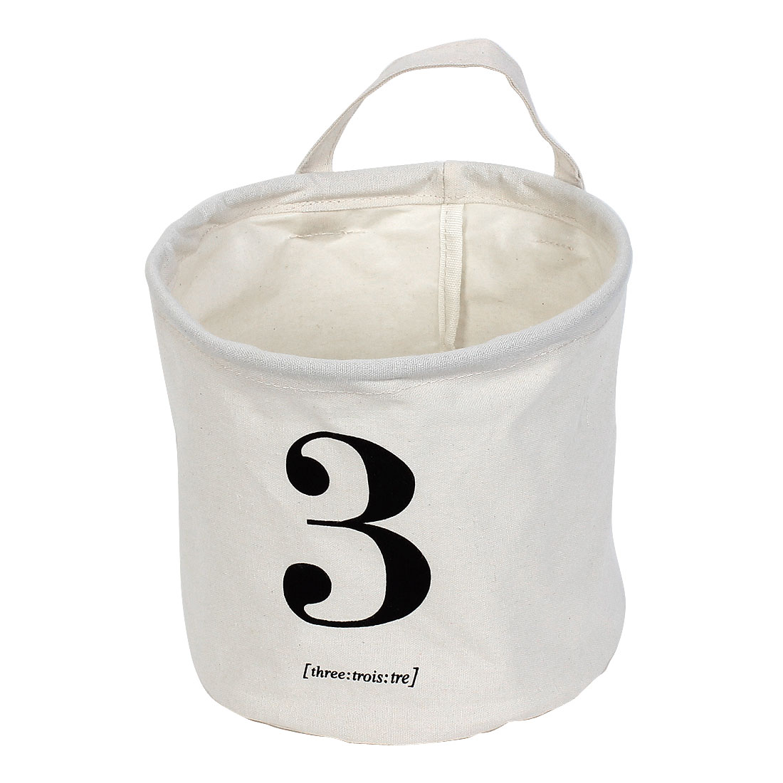 Arabic Numeral Three Print Binaural Storage Basket Bucket Organizer 2pcs