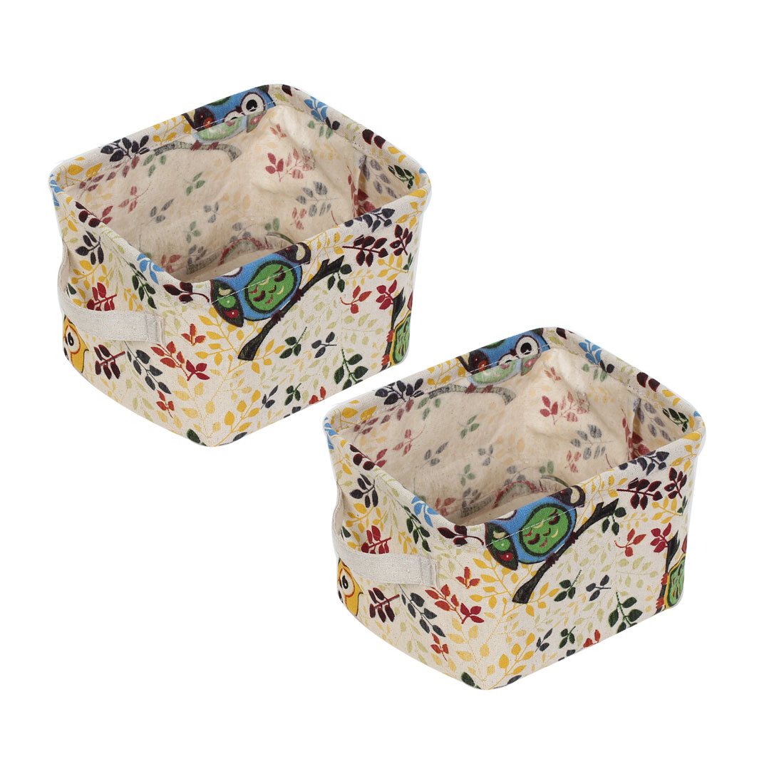 Owl Printed Rectangle Shaped Storage Basket Bucket 2pcs