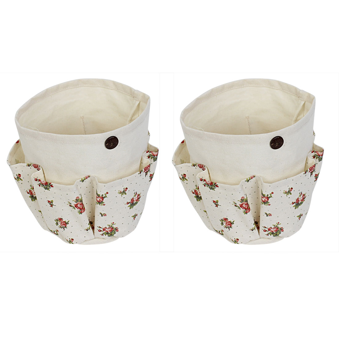 Flower Pattern Foldable Cosmetic Storage Bag Container 2 Pcs