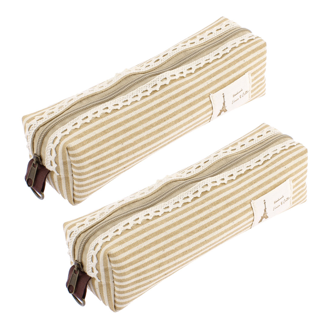 Canva Stripe Print Zippered Stationery Pen Pencil Bag Holder Organizer Camel Color 2 Pcs