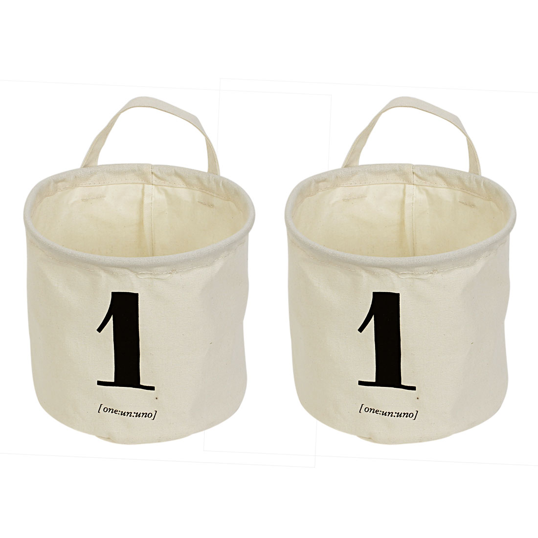 Arabic Numeral One Print Cylinder Shaped Storage Basket Bucket Organizer 2pcs