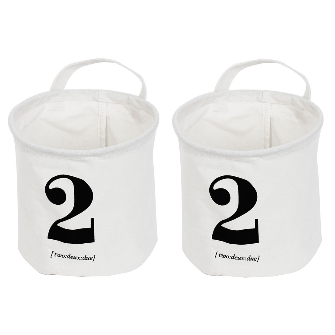 Arabic Numeral Two Print Foldable Storage Basket Bucket Organizer 2pcs