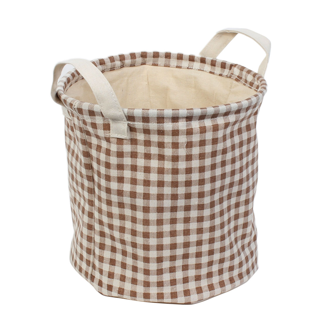 Cylinder Design Grid Pattern Drawstring Closure Storage Bucket Basket 23 x 22cm 2pcs