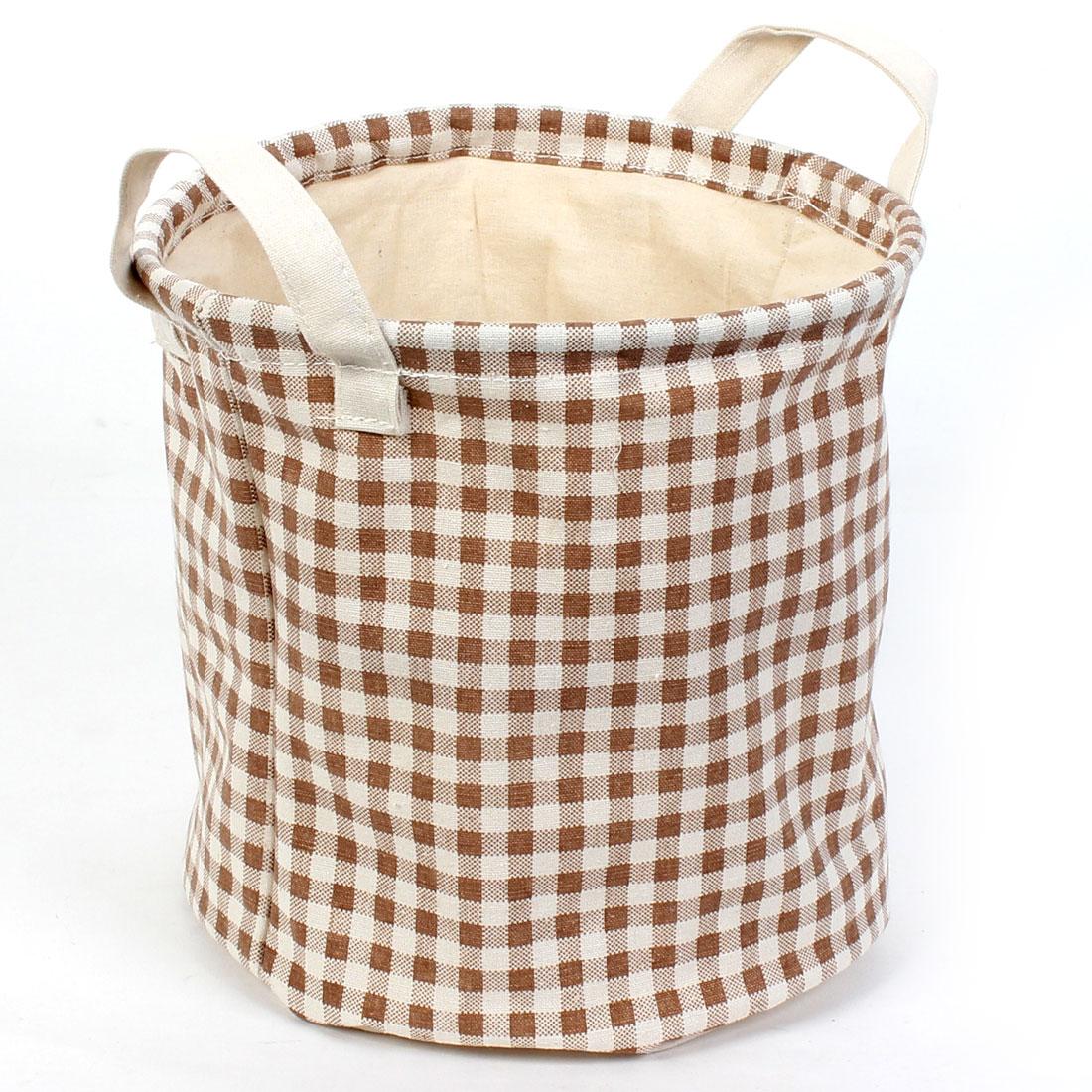 Home Cylinder Shaped Grid Pattern Drawstring Closure Storage Bucket Basket Organizer