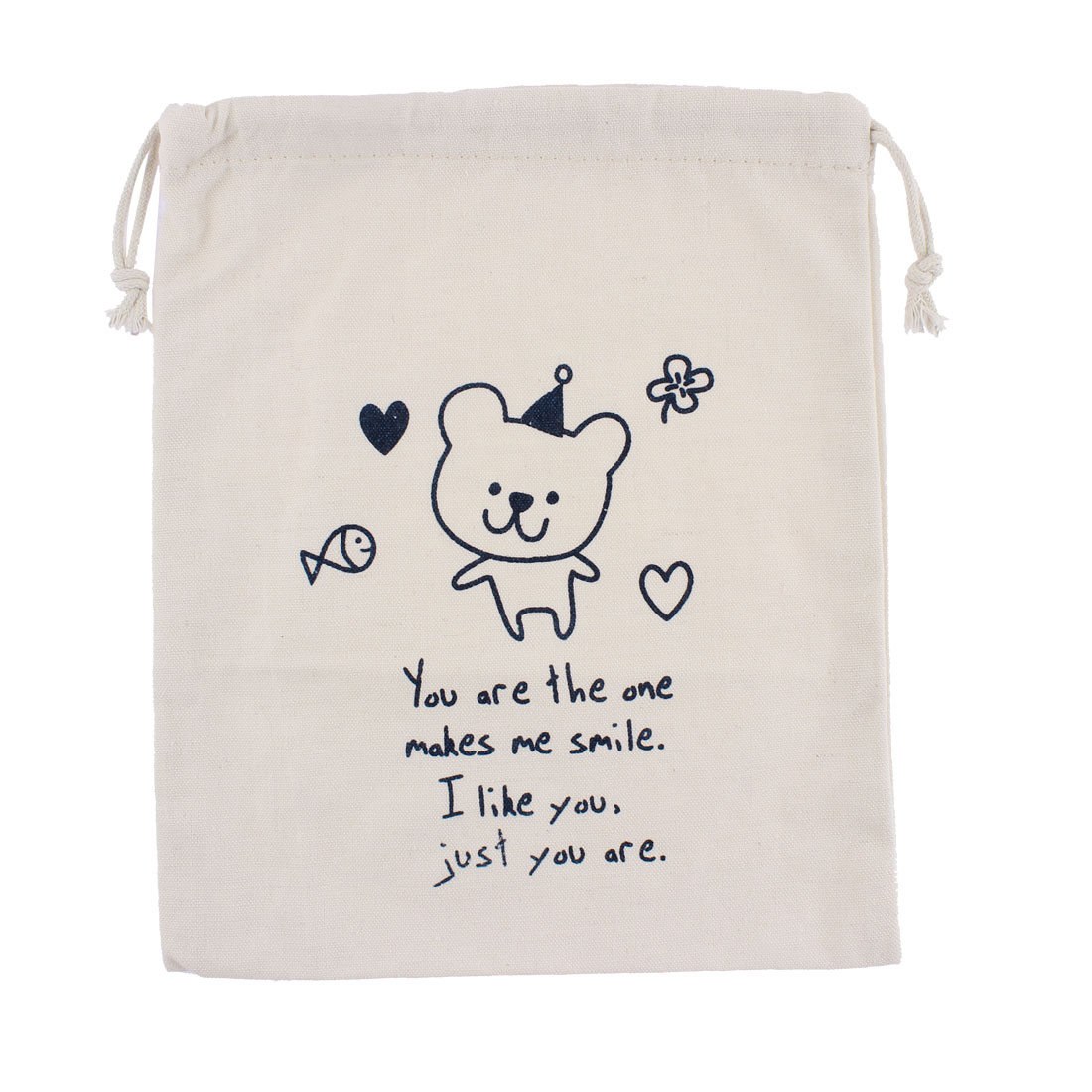 Cotton Blends Bear Print Sundries Storage Drawstring Bag Organizer 25 x 21cm