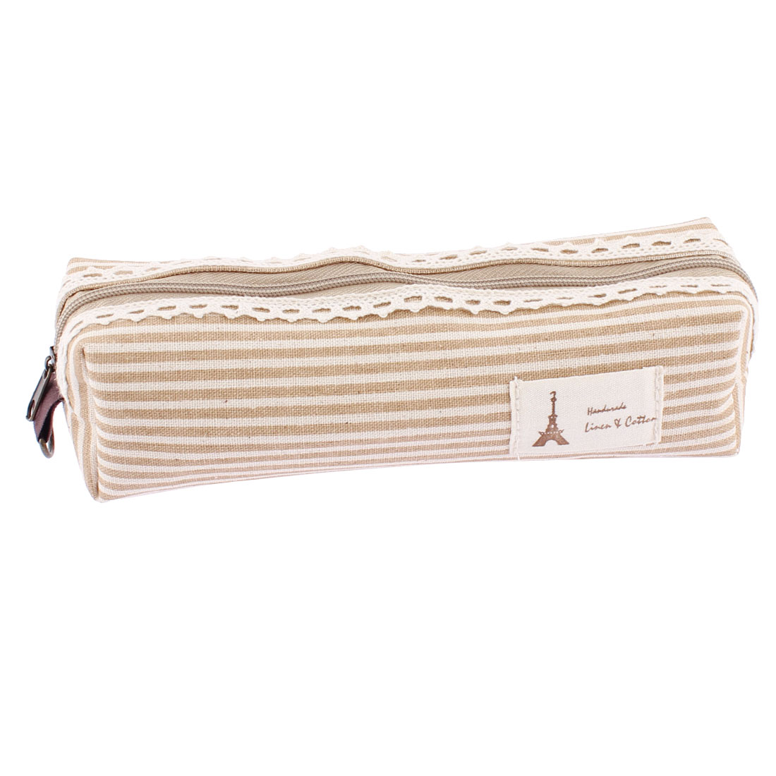 Students Canva Stripe Pattern Zippered Stationery Pen Pencil Bag Holder Camel Color