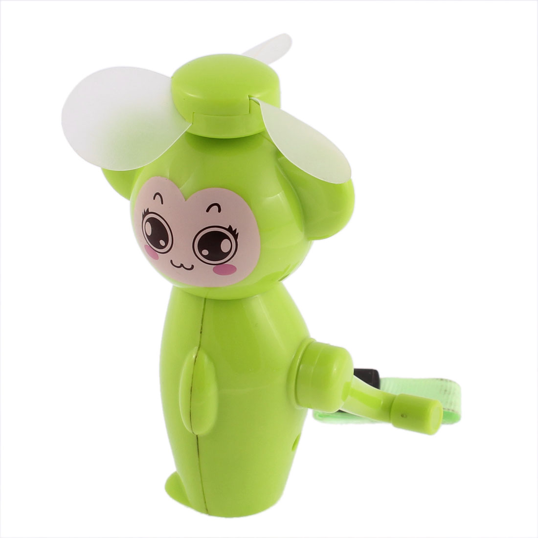 Handheld Plastic Monkey Design Hand Crank Mini Cooling Fan Cooler Green