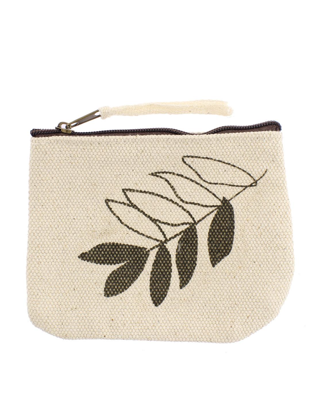 Leaf Pattern Zippered Card Coin Change Key Bag Wallet Purse Pouch Handbag