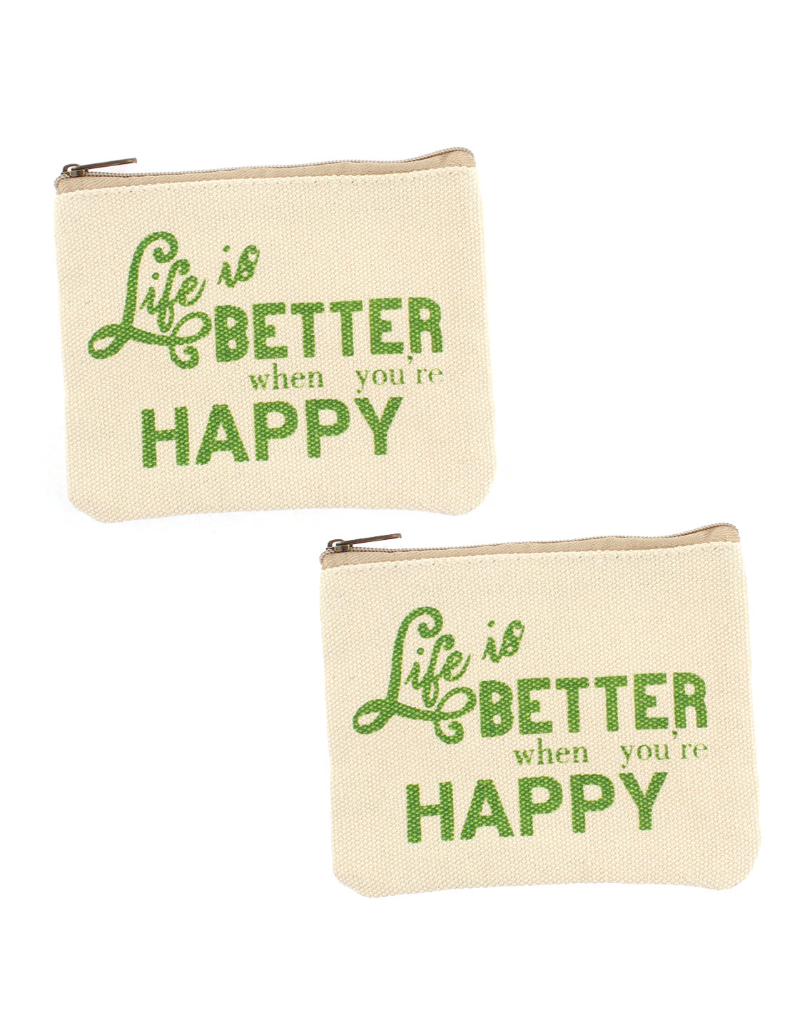 English Sentence Pattern Zippered Card Coin Change Key Bag Wallet Pouch 2pcs