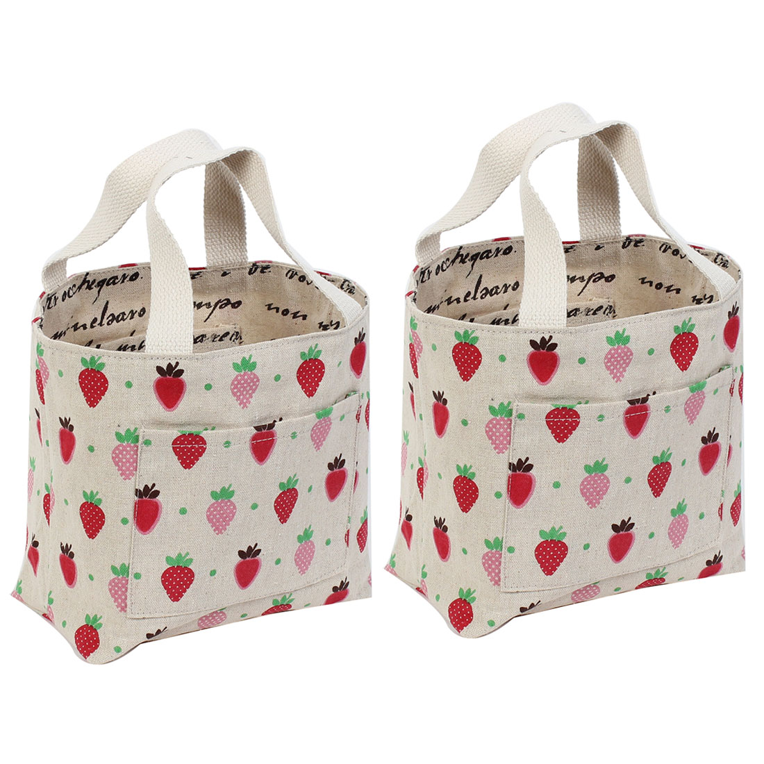 Strawberry Pattern Foldable Shopping Handbag Tote Bag 2pcs