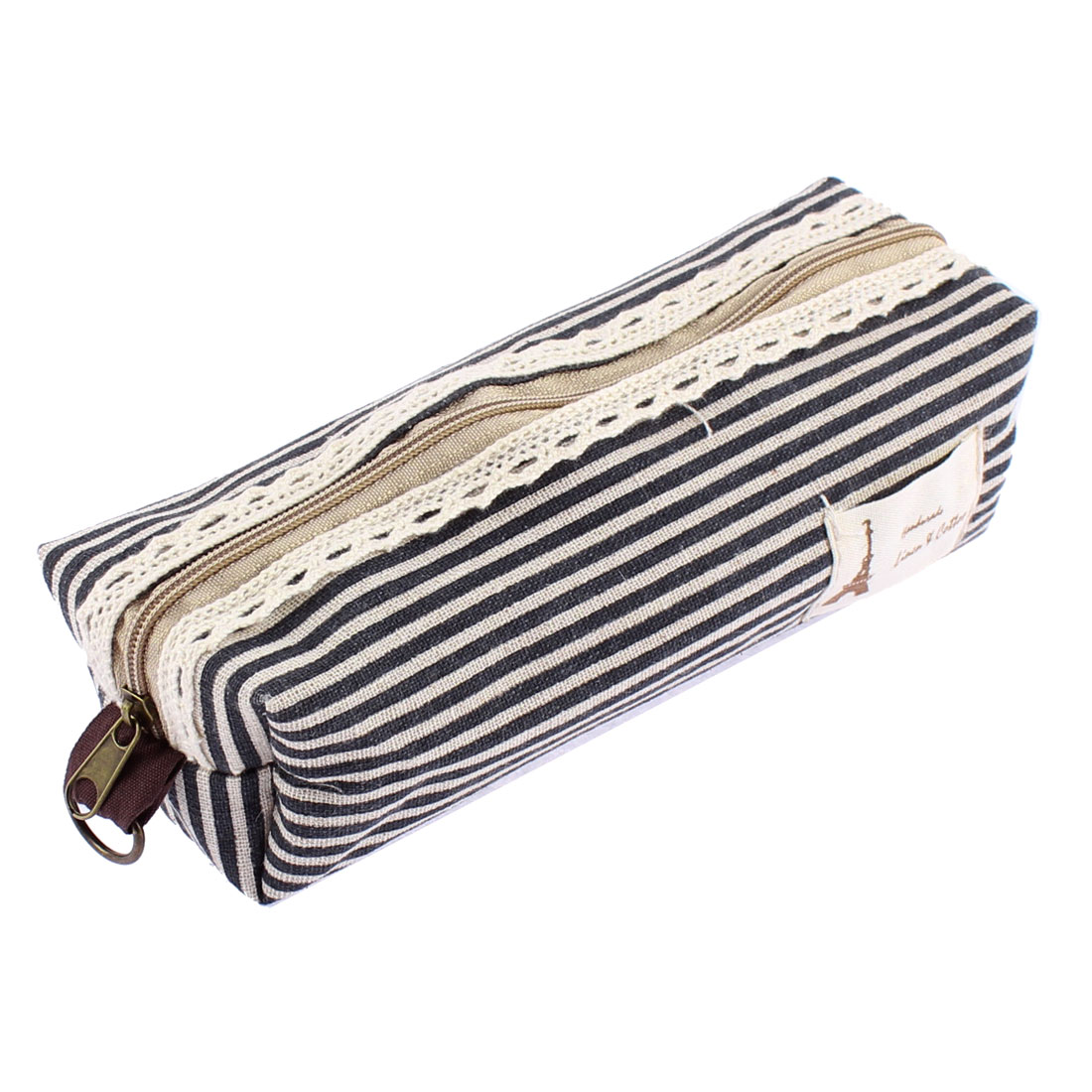 Students Canva Stripe Pattern Zippered Stationery Pen Pencil Bag Holder Black