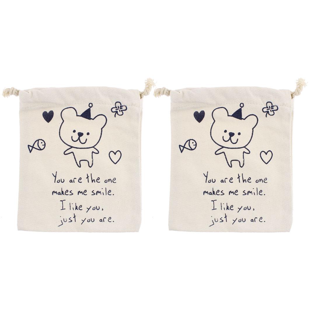 Bear Pattern Sundries Storage Drawstring Bag Organizer Holder Off White 2pcs