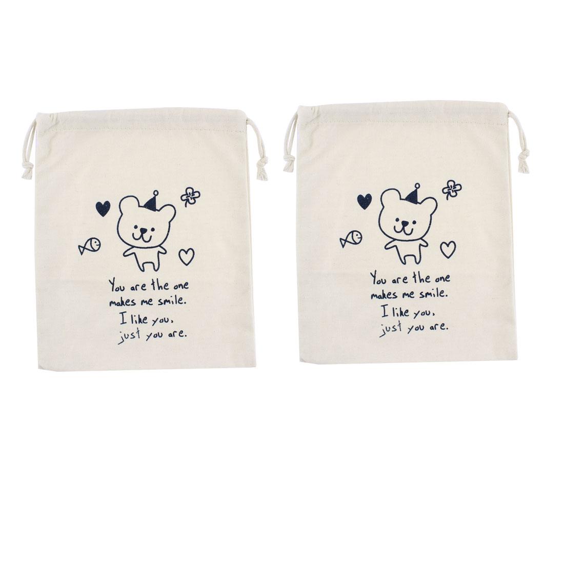 Cotton Blends Bear Pattern Sundries Storage Drawstring Closure Bag Holder 2pcs