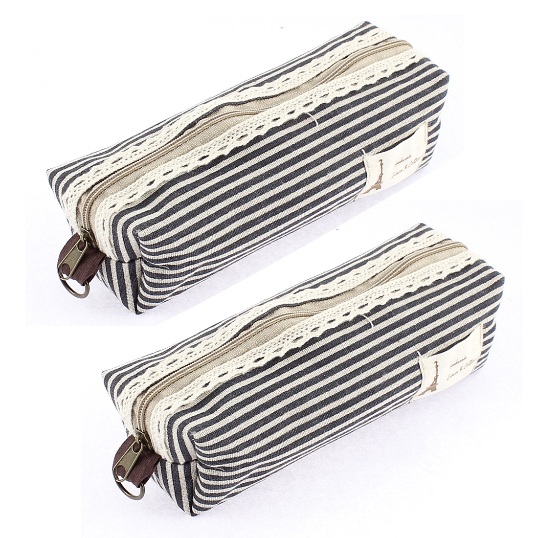 Canva Stripe Print Zippered Stationery Pen Pencil Bag Holder Organizer Black 2 Pcs