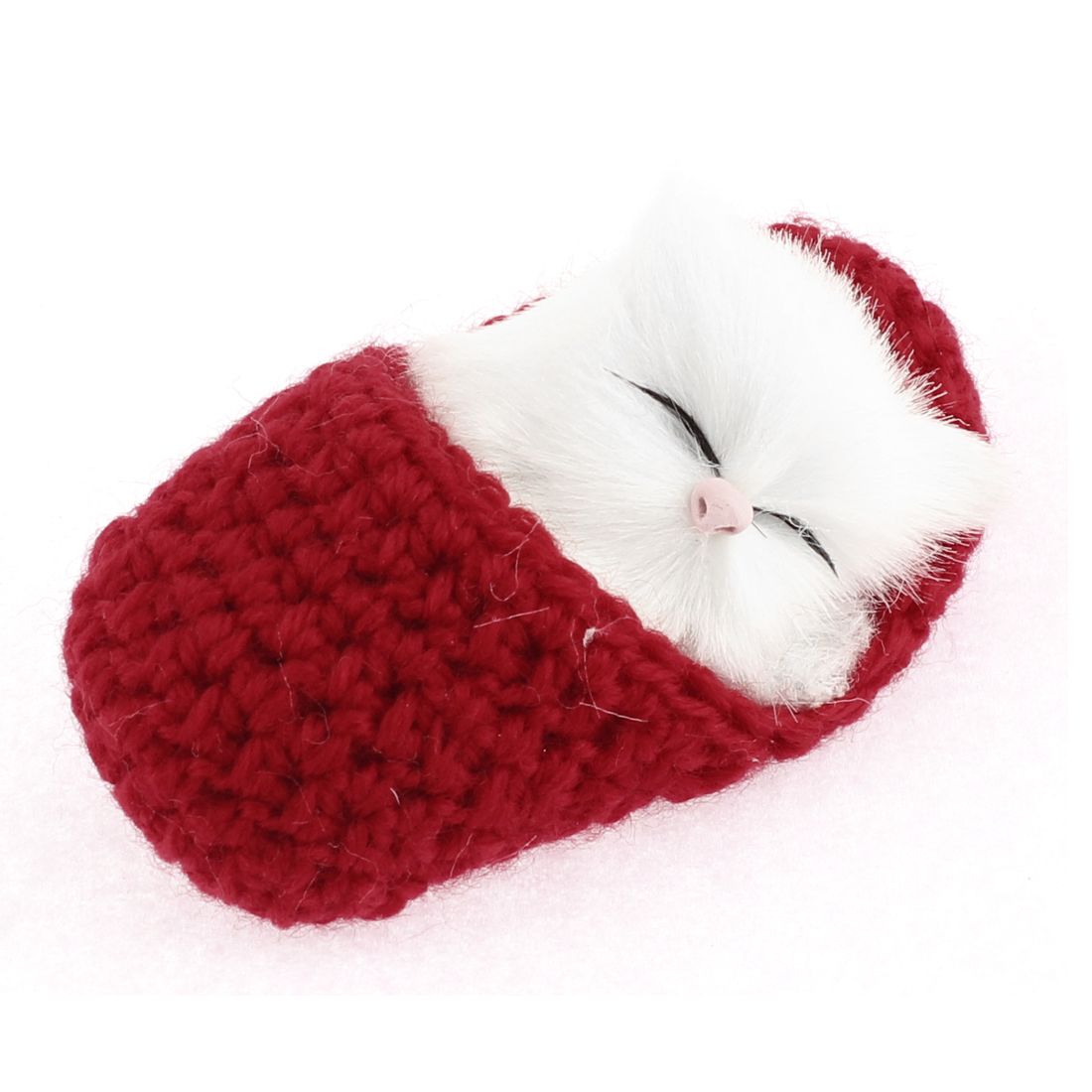 Home Decor Simulation Animal Sound Napping Sleeping Cat in Sock Red