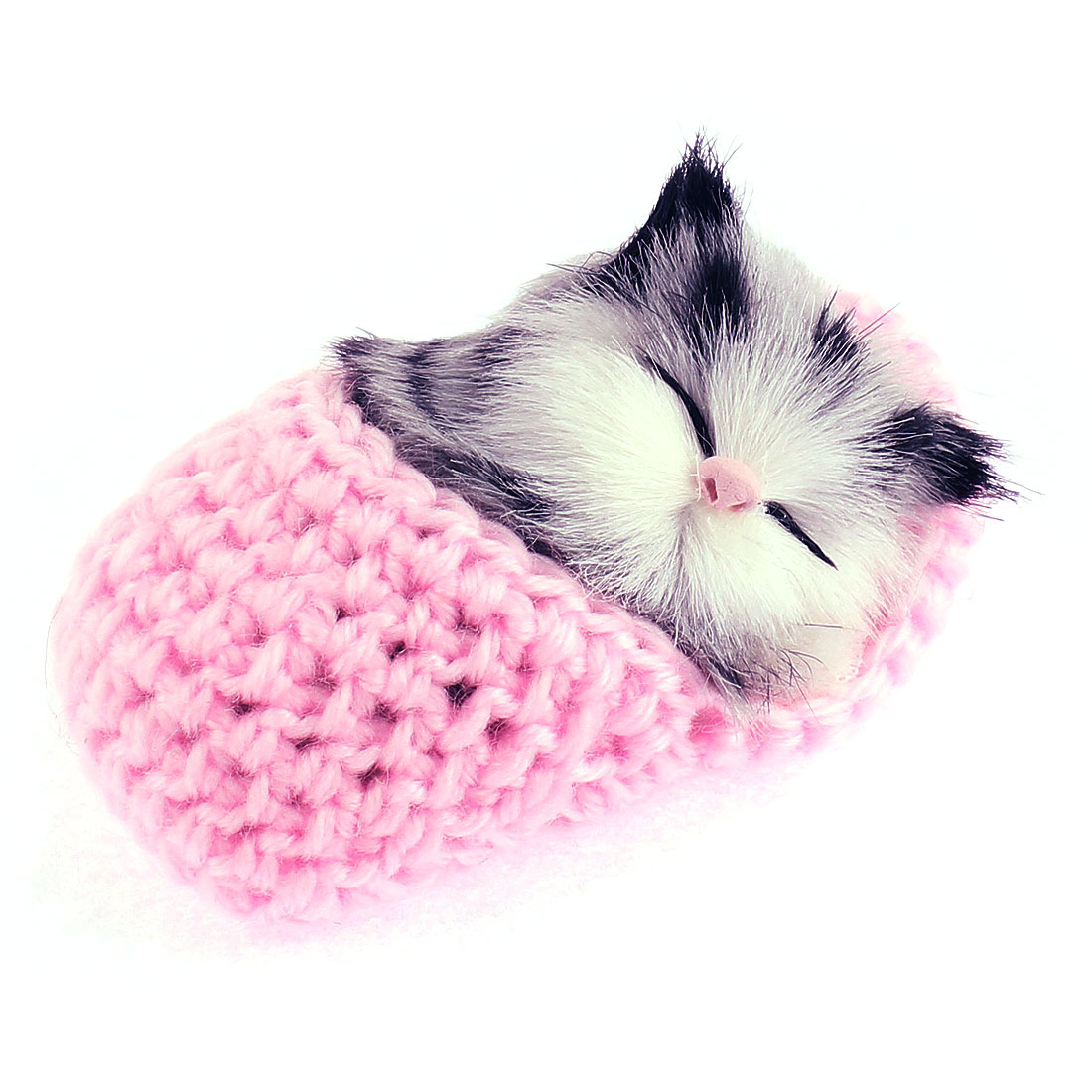 Home Decor Simulation Animal Sound Napping Sleeping Cat in Sock Pink