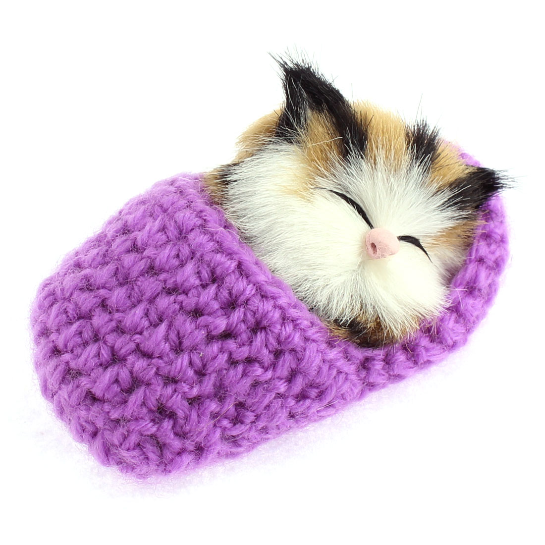 Home Decor Simulation Animal Sound Napping Sleeping Cat in Sock Purple