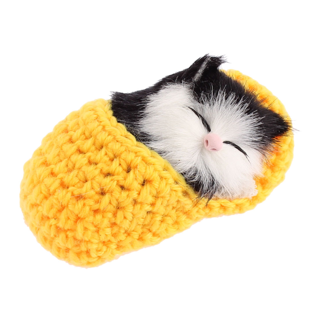 Home Decor Simulation Animal Sound Napping Sleeping Cat in Sock Yellow