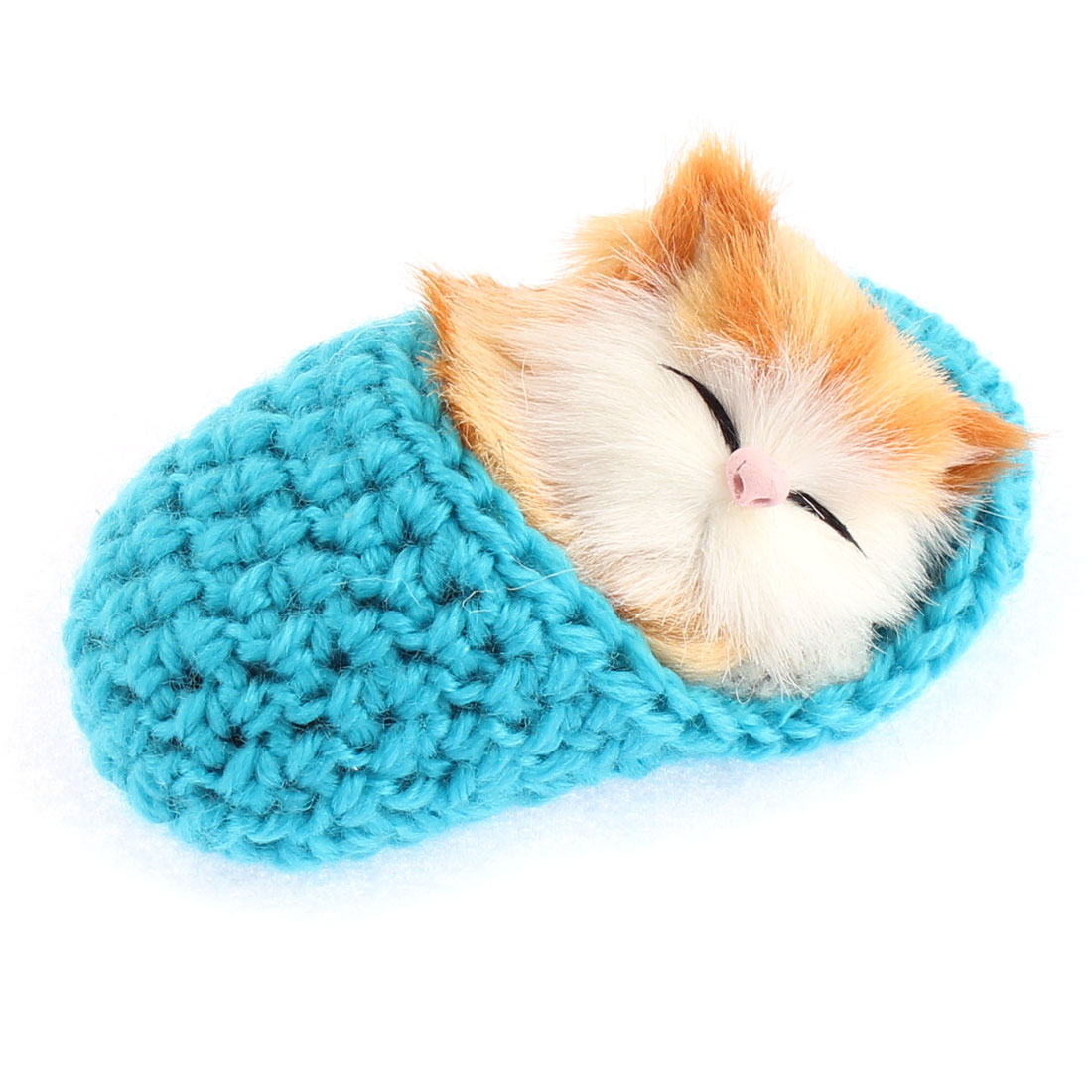 Home Decor Simulation Animal Sound Napping Sleeping Cat in Sock Blue