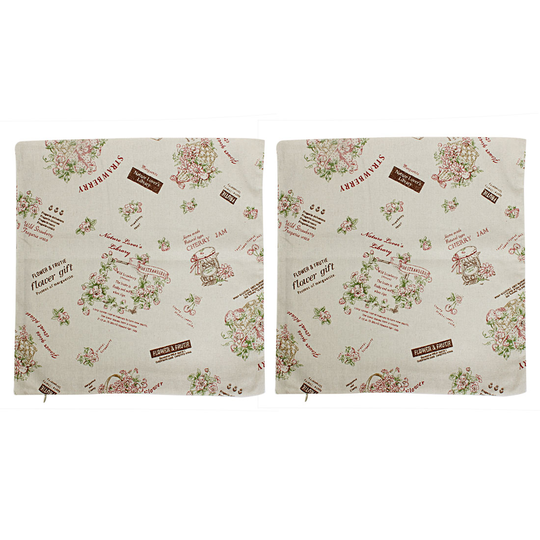 Home Sofa Linen Floral Pattern Cushion Cover 45 x 45cm Beige 2 Pcs