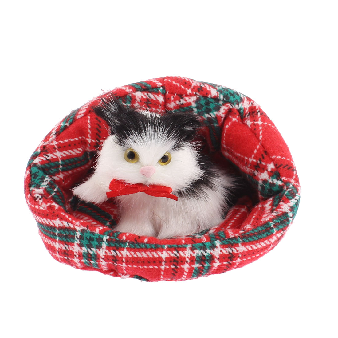 Home Decor Simulation Animal Sound Cat in Bed 10 x 9cm Red