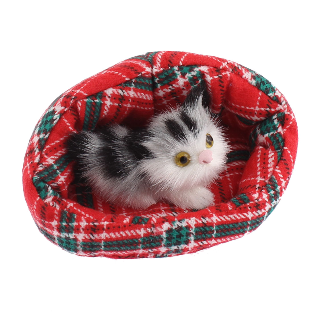 Home Decor Simulation Animal Sound Cat in Bed Red