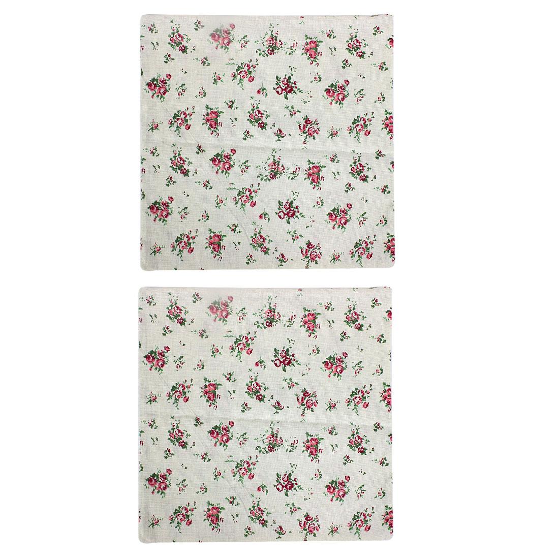 Linen Flower Pattern Pillow Cushion Case Cover Pillowcase 45x45cm 2pcs