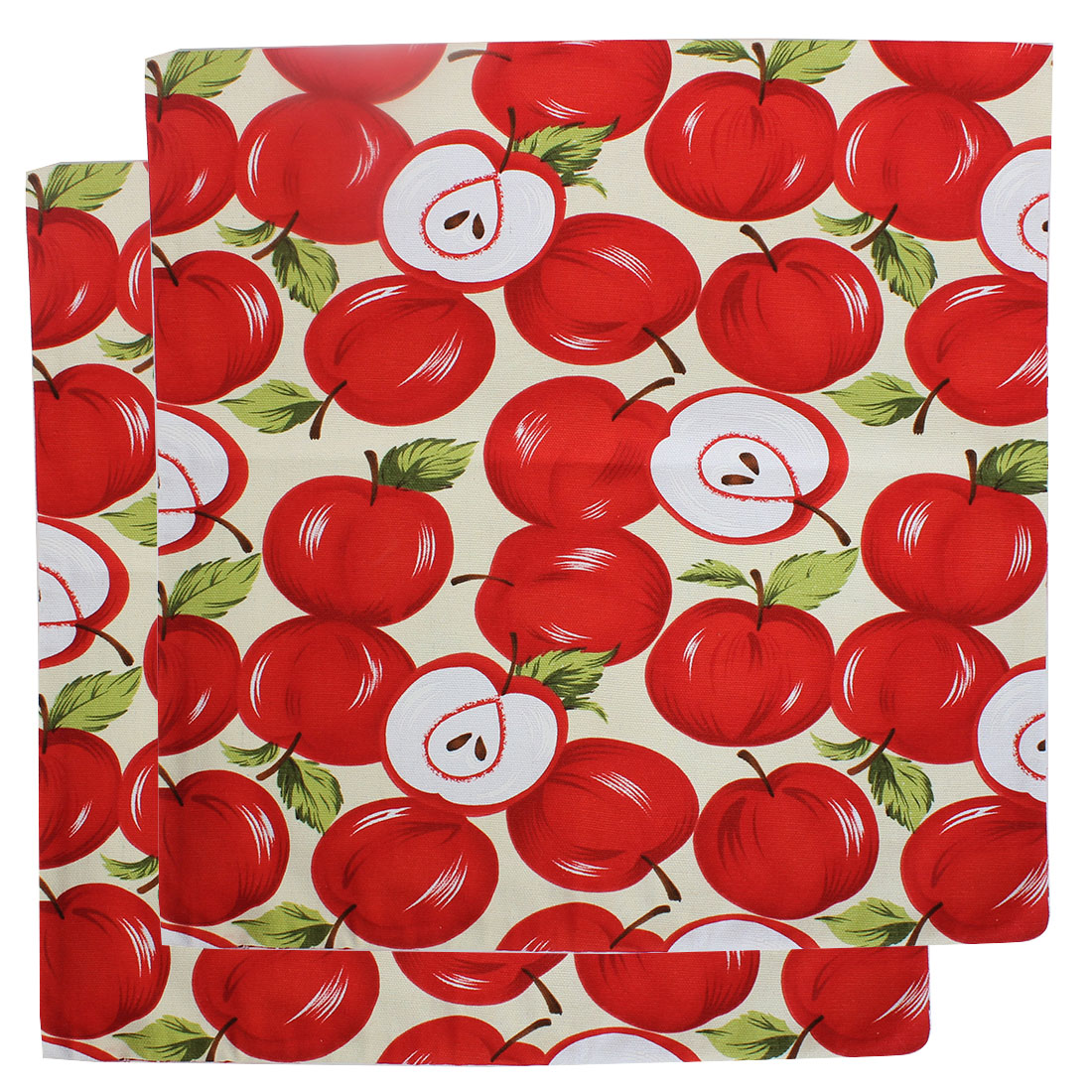 Canvas Apple Pattern Back Waist Pillow Cushion Case Cover 42 x 42cm 2pcs
