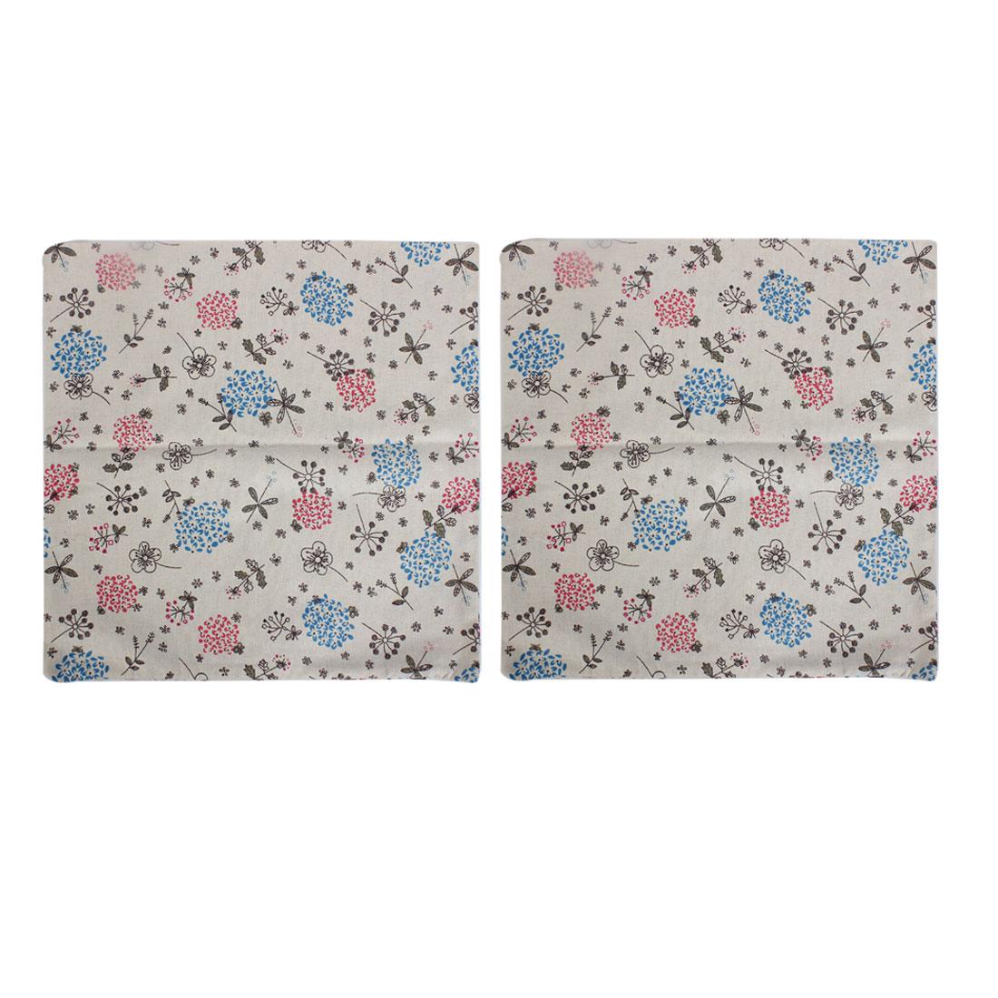 Floral Printed Cushion Cover Pillow Case 45 x 45cm 2pcs