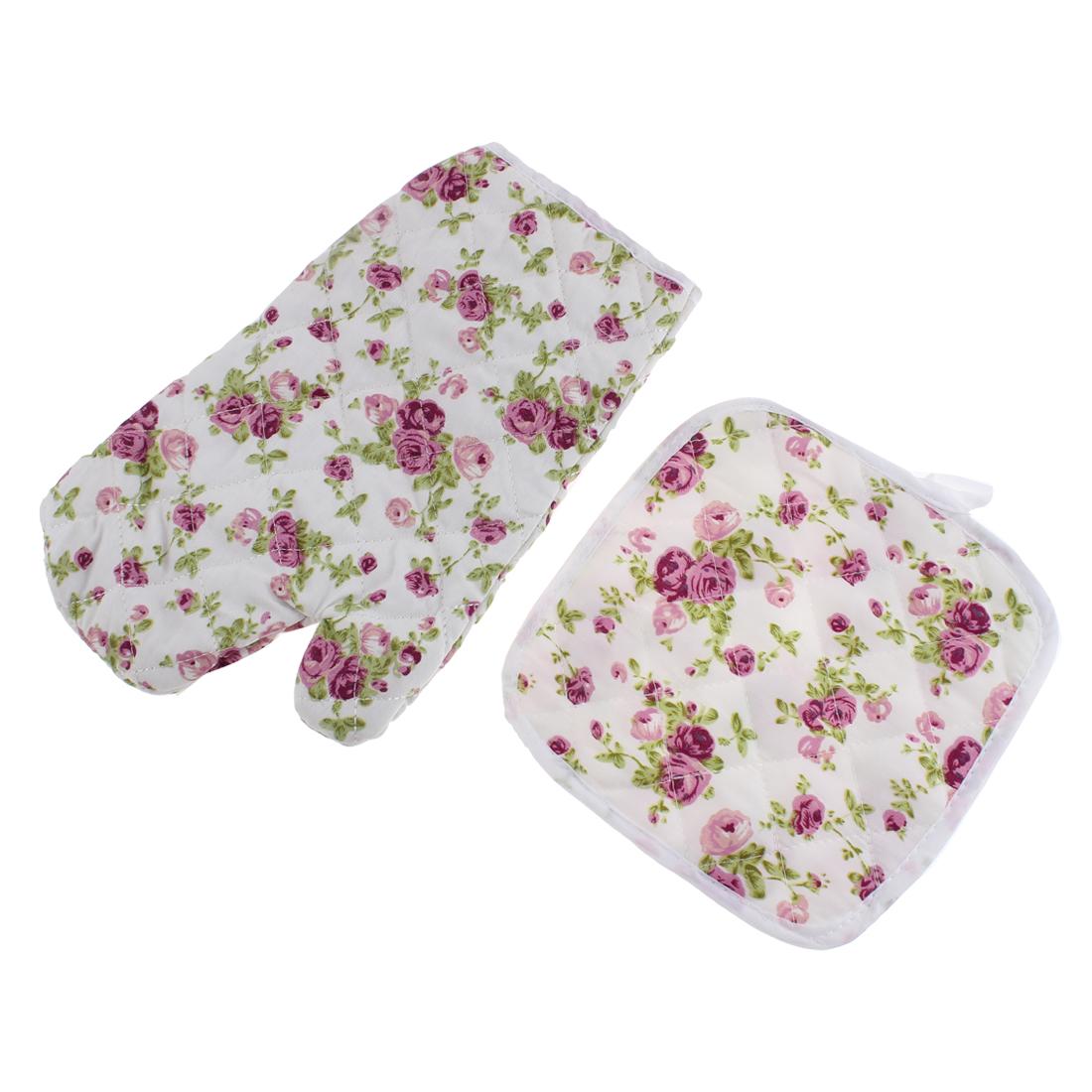 Flower Pattern Microwave Oven Gauntlet Mitt Gloves w Mat