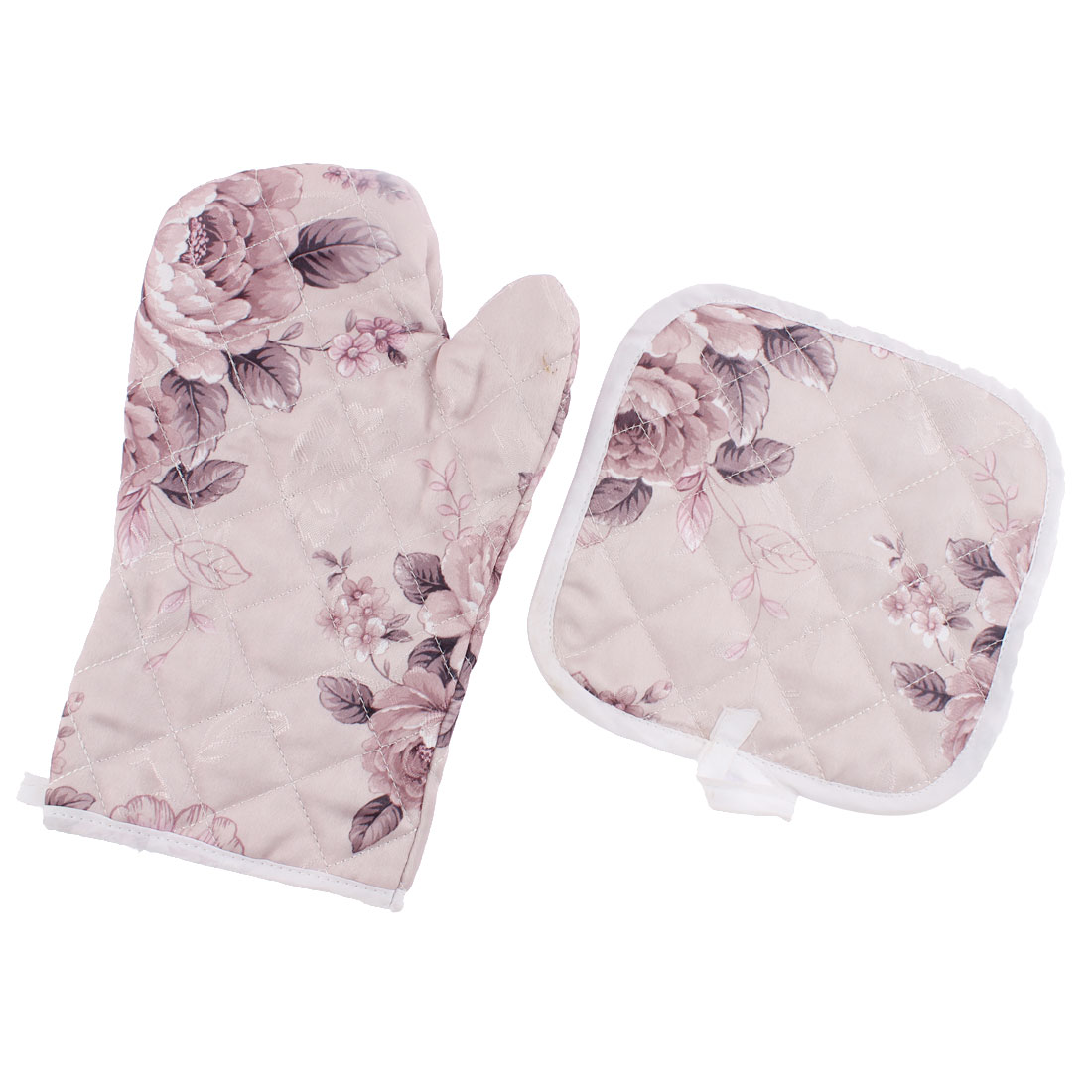Kitchen Cooking Baking Hand Protection Oven Mitt Glove w Mat