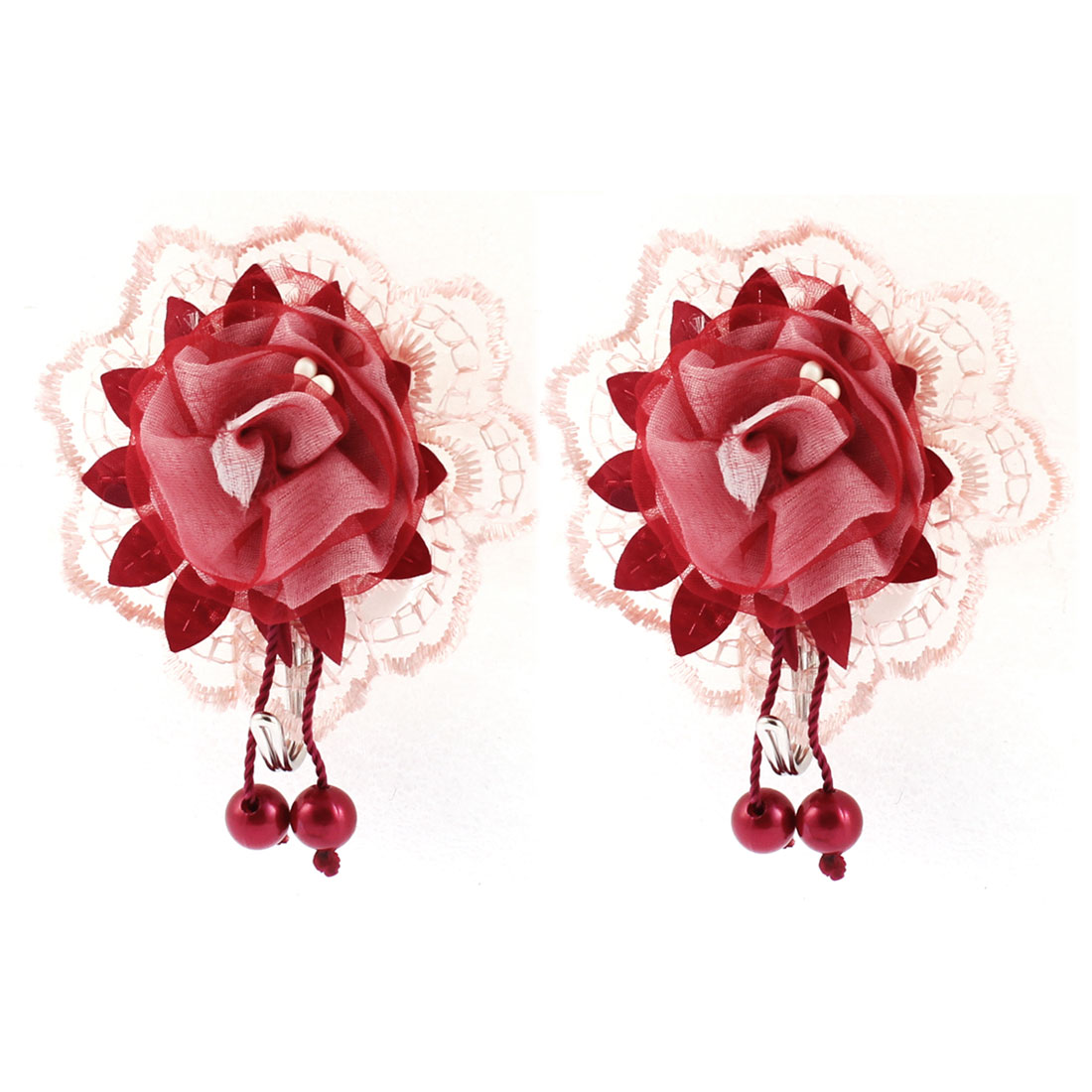 Home Towel Hat Bag Lace Edge Self-adhesive Hook Hanger Burgundy 2pcs