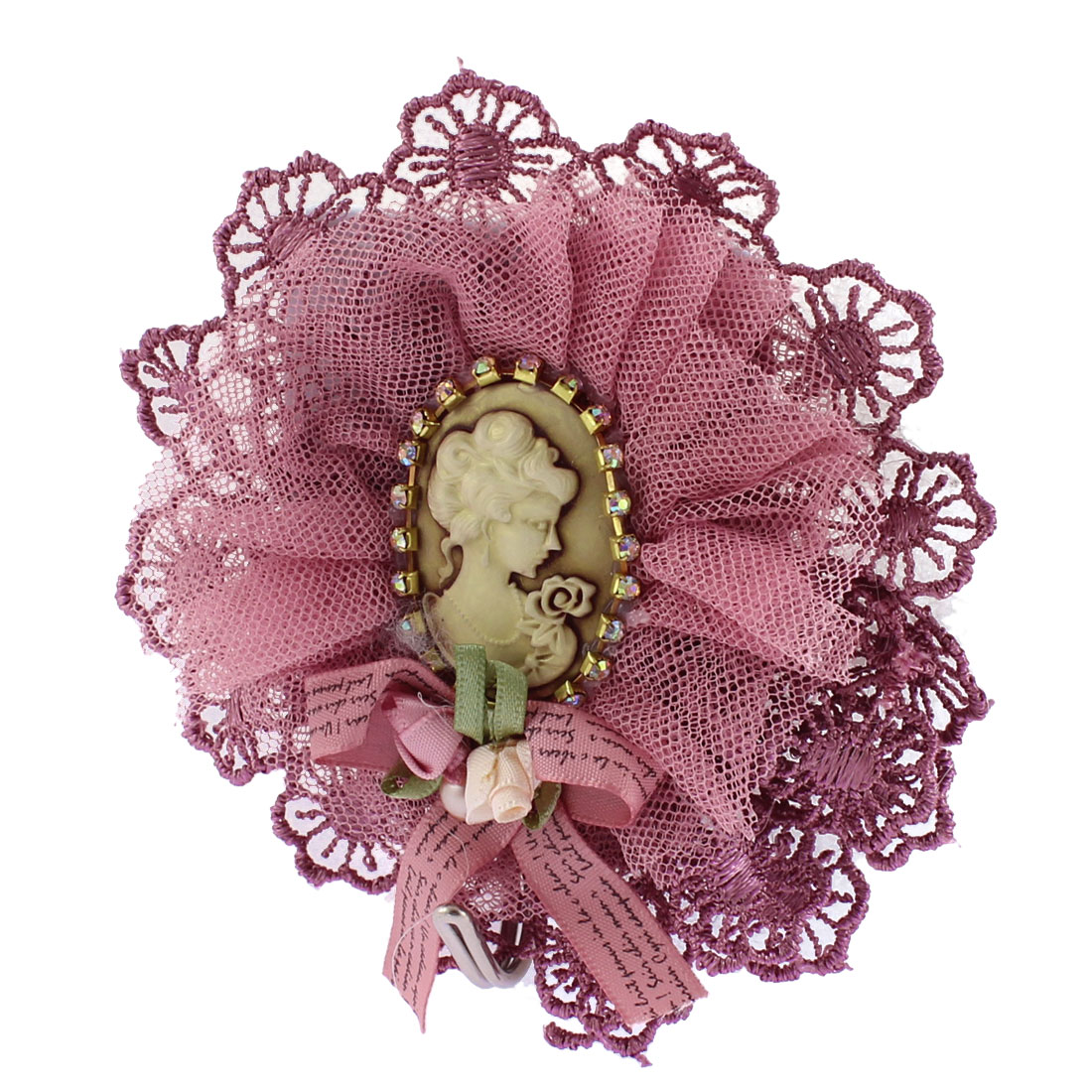 Scarf Bags Keys Portrait Decor Lace Edge Hook Hanger Light Purple