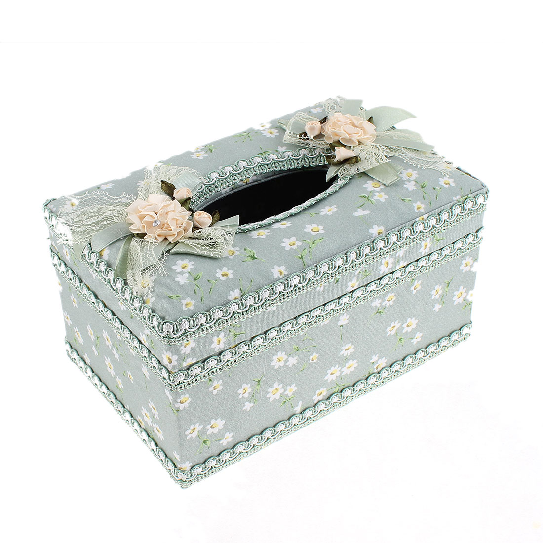 Flower Pattern Rectangular Shaped Tissue Case Box