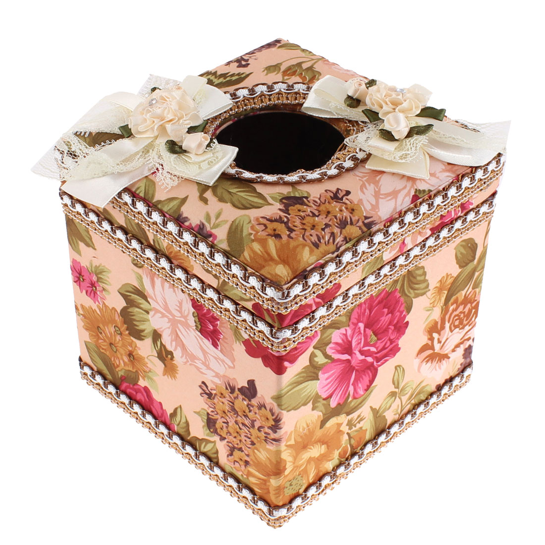 Flowers Printed Square Shaped Tissue Case Box