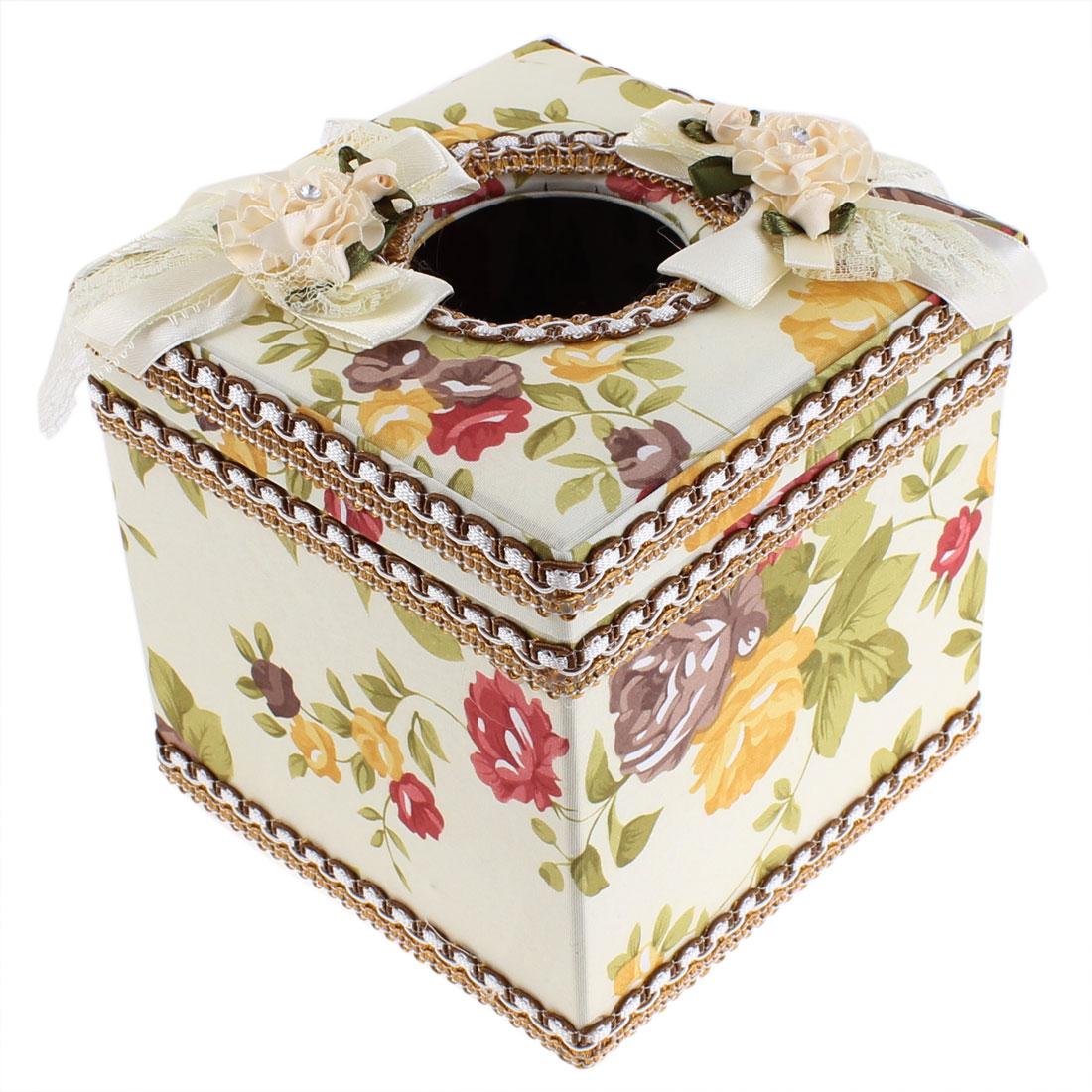 Flowers Pattern Square Shaped Napkin Tissue Storage Box Holder