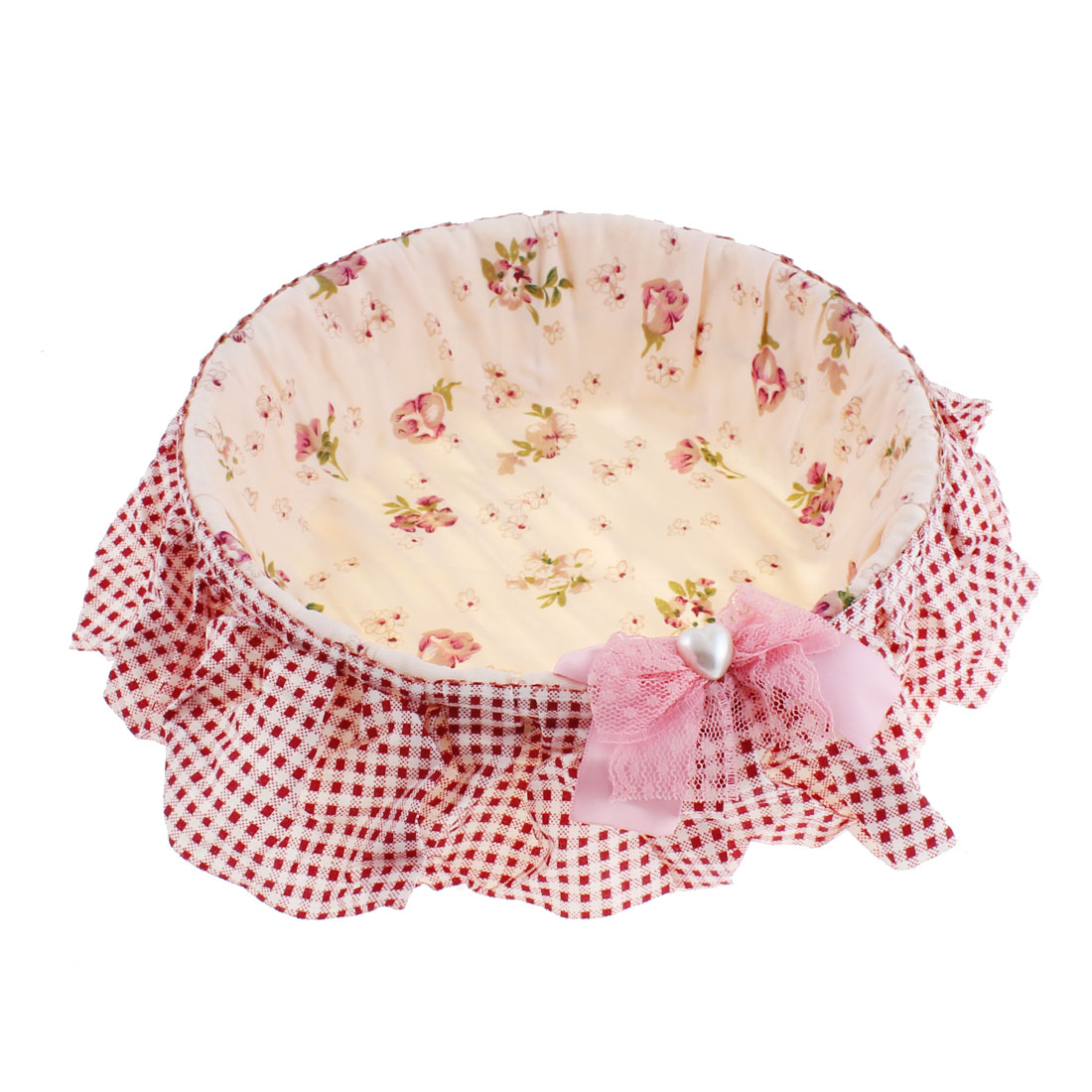 Flower Pattern Jewelry Sundries Handcrafted Storage Basket Holder Pink 21cm Dia