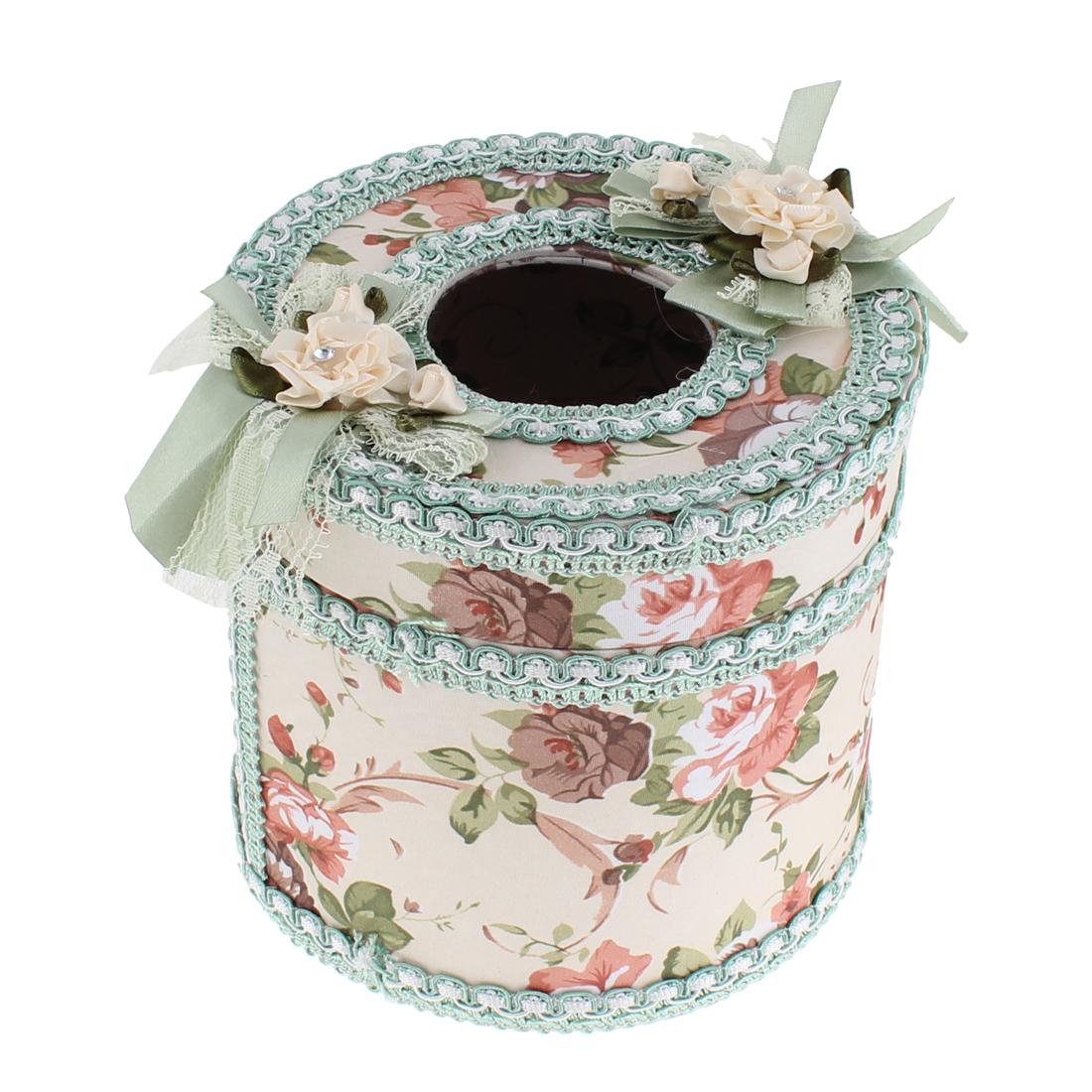 Flower Pattern Round Shaped Napkin Tissue Box Holder Case