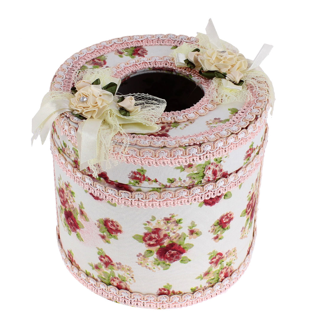 Flower Pattern Round Shaped Tissue Holder Box Case