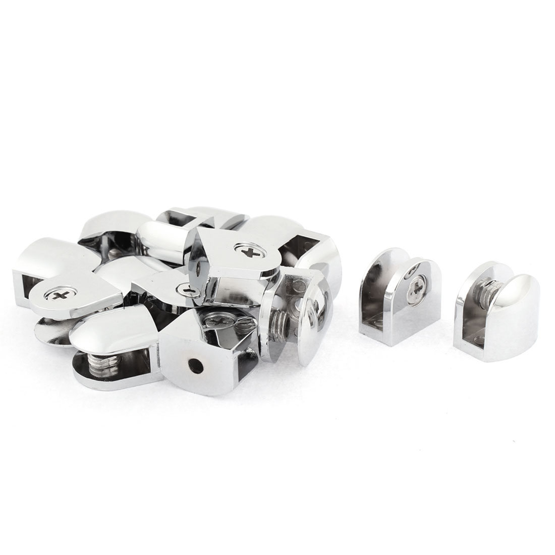 Semicircle Shaped 8mm Thickness Glass Shelf Bracket Support Clip Clamp 16pcs