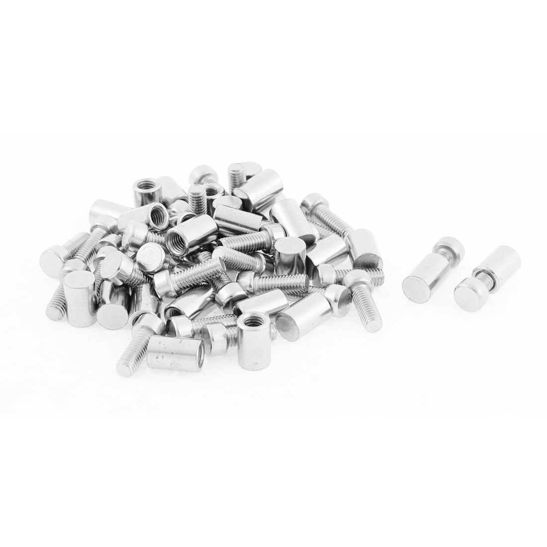 Advertising Wall Fixing Screw Nails Glass Standoff Silver Tone 8x20mm 30pcs