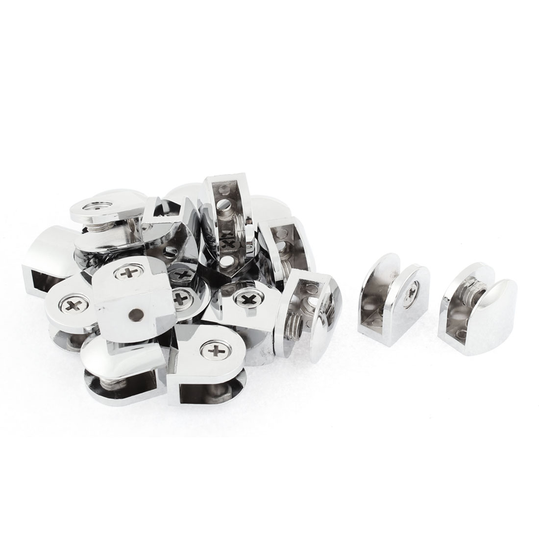Semicircle Shaped 8mm Thickness Glass Shelf Bracket Support Clip Clamp 20pcs